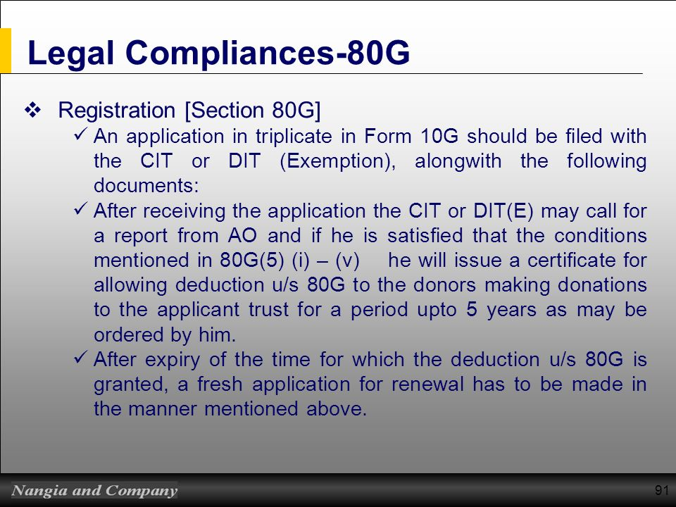 Legal Compliances-80G Registration [Section 80G]